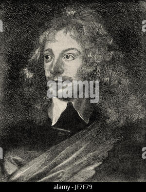 Sir John Suckling, from a portrait after Vandycke. English poet and aristocrat, 1609-1640. - Stock Photo