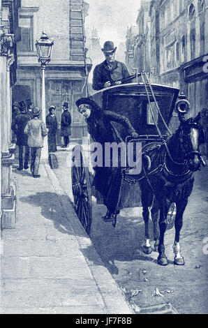 Blind Love, by Wilkie Collins. Written 1889 - unfinished. Completed by Walter Besant. Caption reads: A hansom cab - Stock Photo