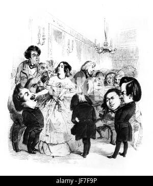 Madame de Girardin 's artistic tea - caricature of leading aritistic and literary figures in Paris (mid- 19th century). - Stock Photo