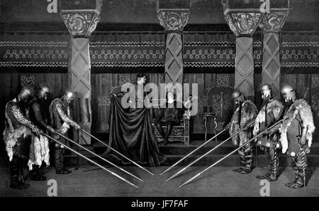 The Death of Hamlet, scene from William Shakespeare's Hamlet. 1905  Accompanying dialogue: Horatio: Now cracks a - Stock Photo