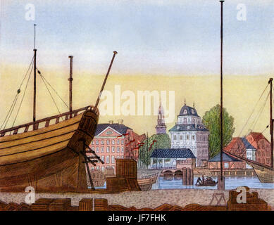 Baumhaus, Hamburg, view from Kehrwieder island. The Baumhaus (lit. tree house) was a customs house, tavern and concert - Stock Photo