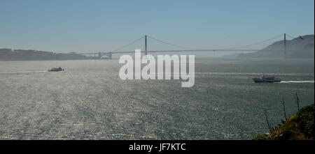 Golden Gate Bridge photographed from the island of Alcatraz on May 1, 2017, California USA - Stock Photo