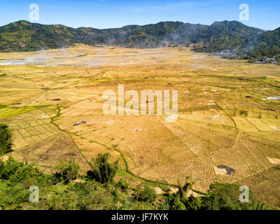 Aerial wide angle view of the spider rice fields at harvest time near Ruteng, Indonesia. - Stock Photo