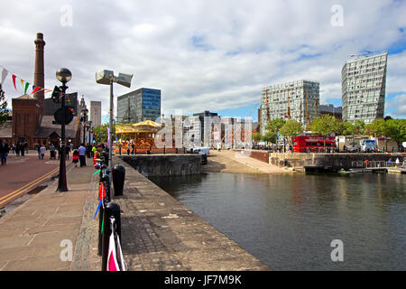 View of Salthouse Dock on the Albert Dock complex Liverpool UK - Stock Photo