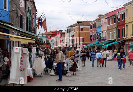 Street scene along Via Baldassarre Galuppi, Burano island,Venice, Italy