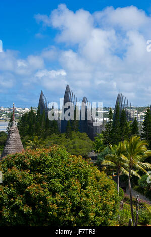 Tjibaou cultural center in Noumea capital of New Caledonia, Melanesia, South Pacific Stock Photo