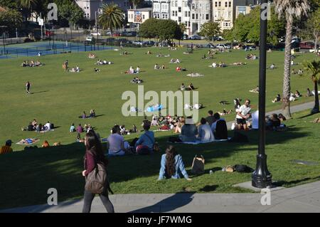 Impressions from the Dolores Park in San Francisco from May 1, 2017, California USA - Stock Photo