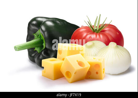 Ingredients for chiles rellenos. Ancho (Poblano) chili pepper, tomato, cheese and onion. Clipping paths, shadow - Stock Photo
