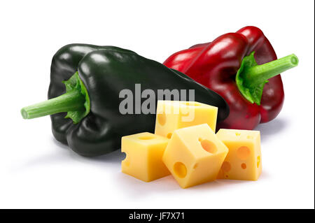 Ingredients for chiles rellenos. Ancho (Poblano) chili peppers with cheese cubes. Clipping paths, shadow separated. - Stock Photo