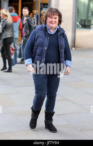 Susan Boyle seen shopping in Manchester the day before her gig at Manchester Bridgewater Hall. - Stock Photo
