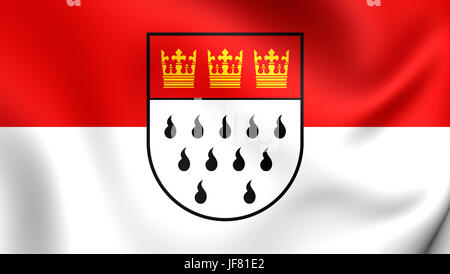 3D Flag of Cologne, Germany. - Stock Photo