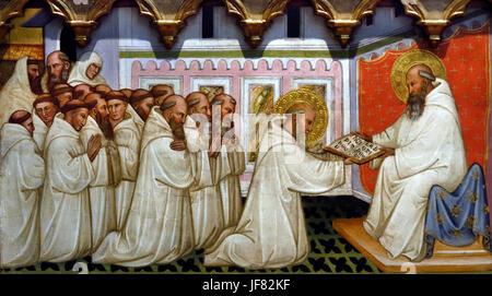St Romuald Receveis the Rule of St Benedict, The Dream of St Romuald c 1400 Pittore Pisano Italy - Stock Photo