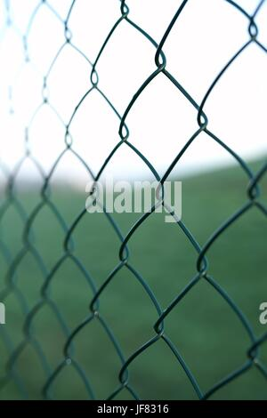 Wire mesh fence on a private land - Stock Photo