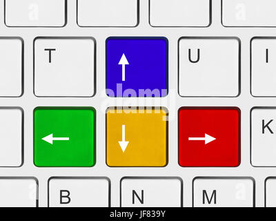 Arrows buttons on computer keyboard - Stock Photo