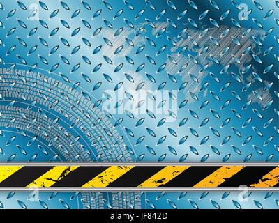 Industrial background in blue with tire treads - Stock Photo
