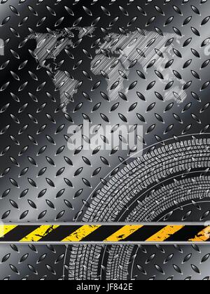 Industrial background in black with tire treads - Stock Photo