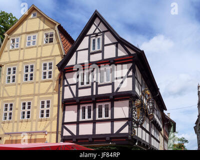 halftimbered houses at Breite Straße  in Quedlinburg, Saxony-Anhalt, Germany, Europe, UNESCO worl heritage - Stock Photo