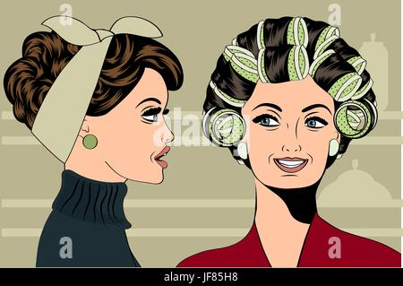 Woman with curlers in their hair talking with her friend - Stock Photo