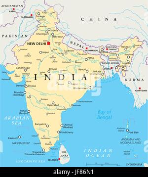 India Political Map - Stock Photo