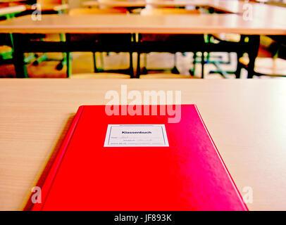 Class register - Klassenbuch auf dem Lehrertisch - Stock Photo