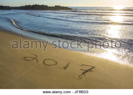 2017 Written In The Sand - Stock Photo