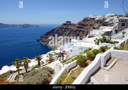 Fira, Santorini / GREECE May 15 2017:  View over Fira (Santorini, Greece) with its typical white houses - Stock Photo