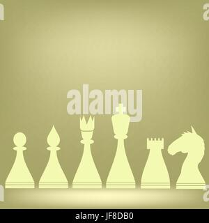 Chess White Pieces Isolated on Brown Background - Stock Photo