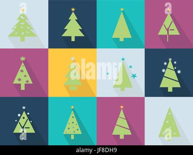 Icons set with christmas tree and stars - green - Stock Photo
