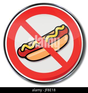 prohibition sign for hotdogs with sausage and mustard - Stock Photo