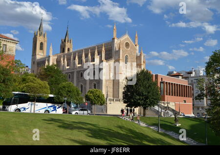 Street View of Roman Church of San Jerónimo el Real in Madrid, Spain - Stock Photo