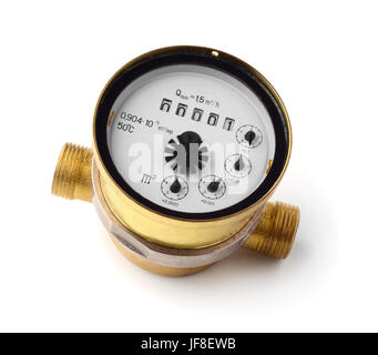 Water Meter Isolated On White - Stock Photo
