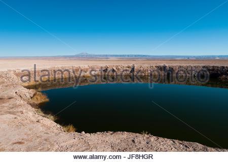 The lagoons known as the Ojos del Salar, in the Salar de Atacama. - Stock Photo