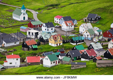 View of a traditional village of Gjov in the Faroe Islands. - Stock Photo