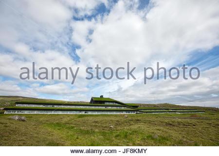 Straight lines in the landscape characterize Hotel Foroyar from the outside. - Stock Photo