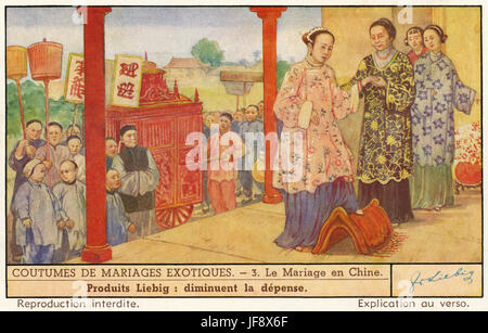 Chinese wedding ceremony . Wedding customs.. Liebig card 1941. - Stock Photo