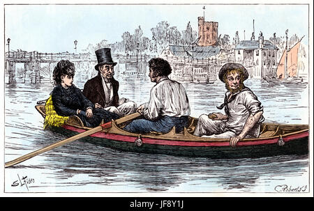 The Mystery of Edwin Drood by Charles Dickens (7 February 1812 – 9 June 1870). Mr. Tartar and Lobley row Mr. Grewgious - Stock Photo
