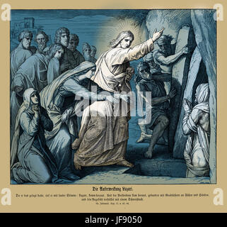 Resurrection of Lazarus, Gospel of John chapter XI verses 43 - 44 'And when he thus had spoken, he cried with a - Stock Photo