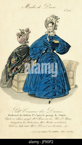Parisian fashion, November 1844. Two women wearing bonnets tied with ribbon and decorated with flowers. One woman - Stock Photo