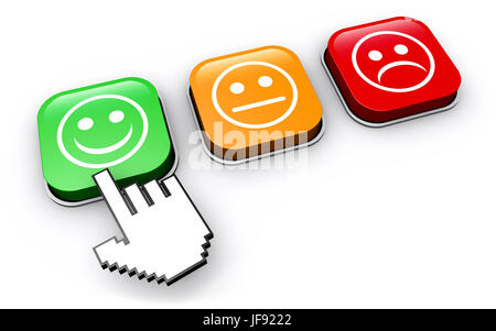 Happy customer feedback concept with hand clicking on positive business quality control button 3D illustration. - Stock Photo