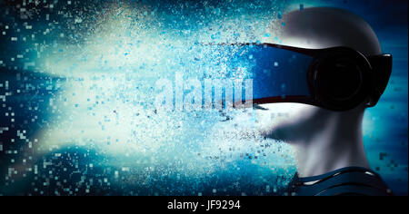 Into virtual reality world. Man wearing goggle headset. Future technology. 3D rendering - Stock Photo