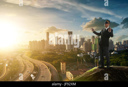 Blind businessman ,concept of risk and danger in business decision . - Stock Photo