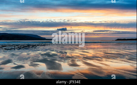 Sunset at Balnakeil Bay, near Durness - Stock Photo