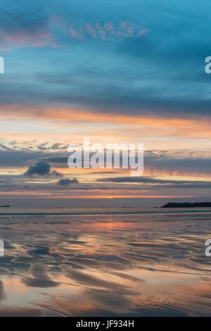 Sunset at Balnakeil Bay, near Durness - Stock Photo