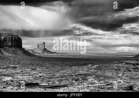 A stormy landscape at Monument Valley, Arizona - Black and white - Stock Photo