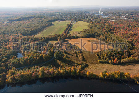 Aerial view of the town of Madison in central Maine. - Stock Photo