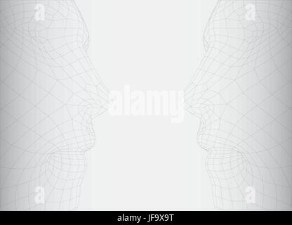 conceptual 3D wire frame human male head - Stock Photo