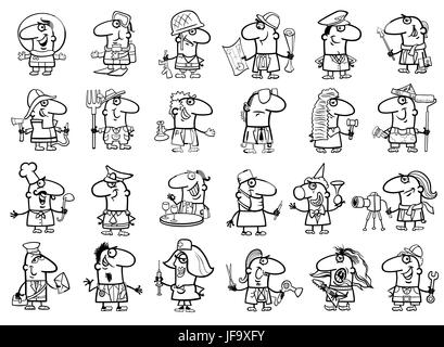 occupations set coloring page - Stock Photo