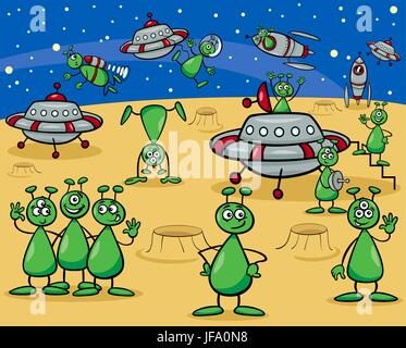 aliens characters cartoon - Stock Photo