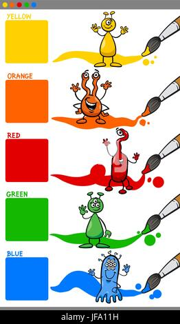 primary colors with cartoon aliens - Stock Photo