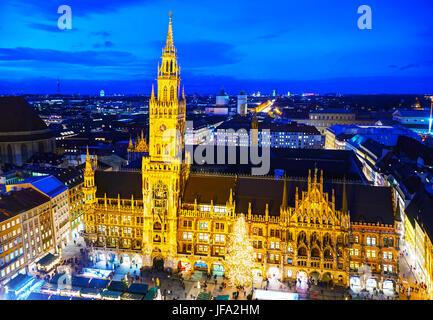 Overview of Marienplatz in Munich - Stock Photo